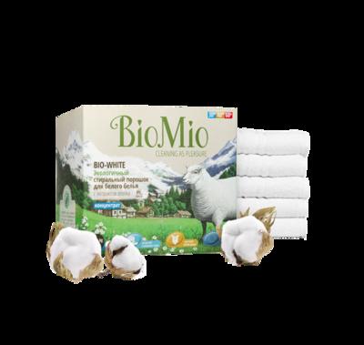 Bio Mio. BIO-WHITE. Стиральный порошок для белого белья БЕЗ ЗАПАХА с экстрактом ХЛОПКА концентрат,  1500 г