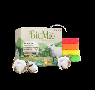 Bio Mio. BIO-COLOR. Стиральный порошок для цветного белья БЕЗ ЗАПАХА с экстрактом ХЛОПКА концентрат, 1500 г