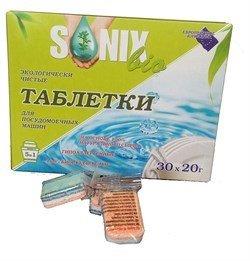 SonixBio. Таблетки для посудомоечных машин 5 в 1 экологически чистые, 30 х 20 г