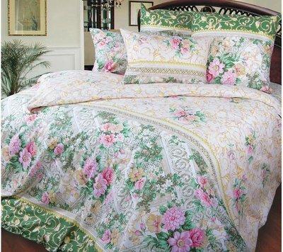 Комплект постельного белья 2-спальный, поплин (Римский дворик, зеленый)