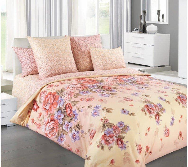 Комплект постельного белья 2-спальный, поплин (Карамель)