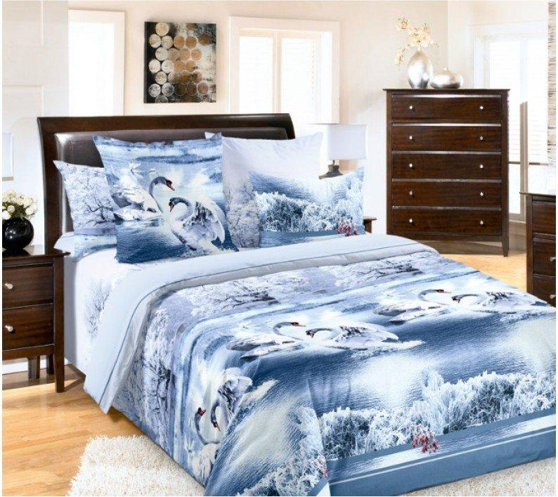 """Комплект постельного белья Евростандарт, бязь """"Люкс"""" (Лебединое озеро, голубой)"""