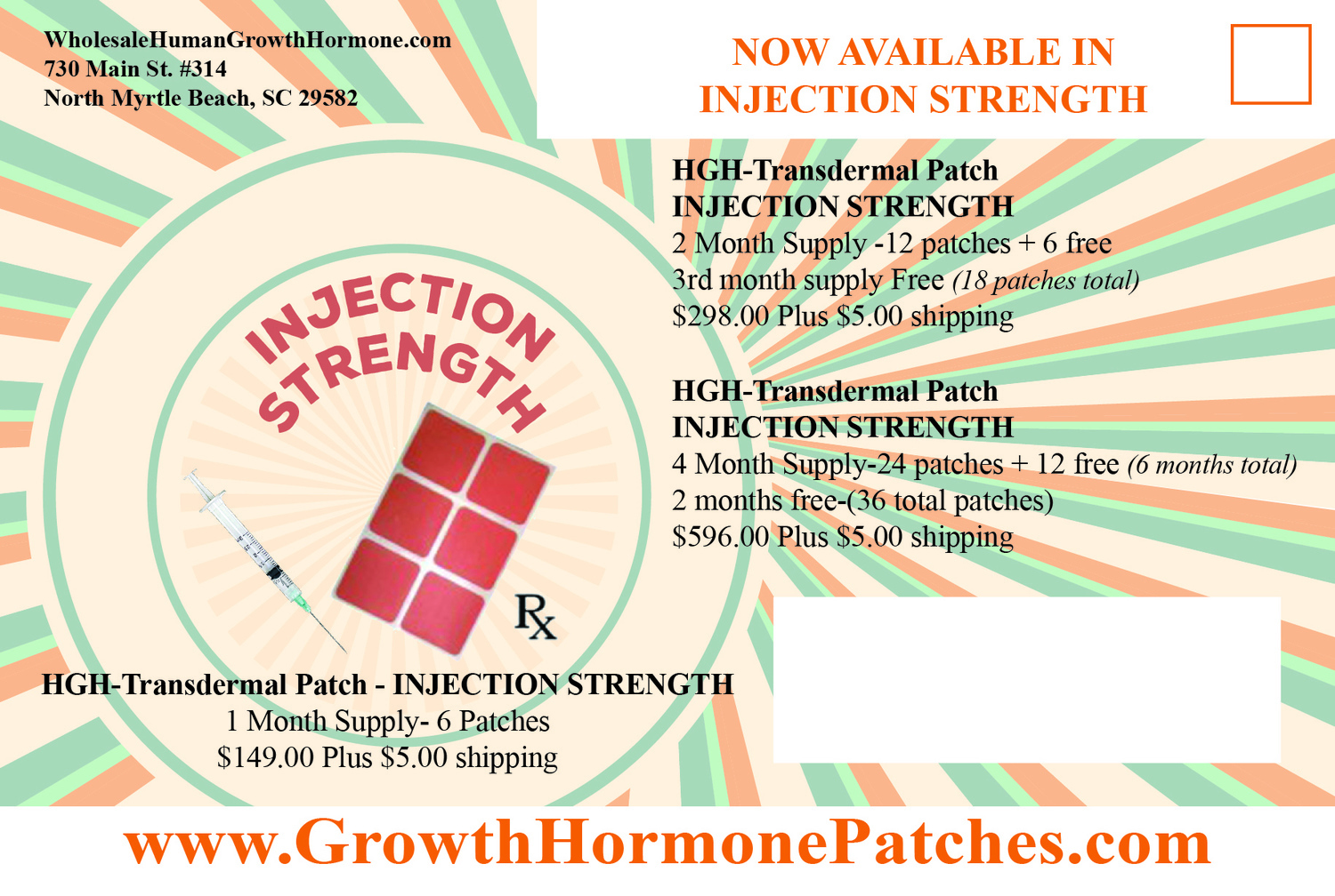 HGH-Transdermal Injection strength patches (1 month Supply - 6 Patches)