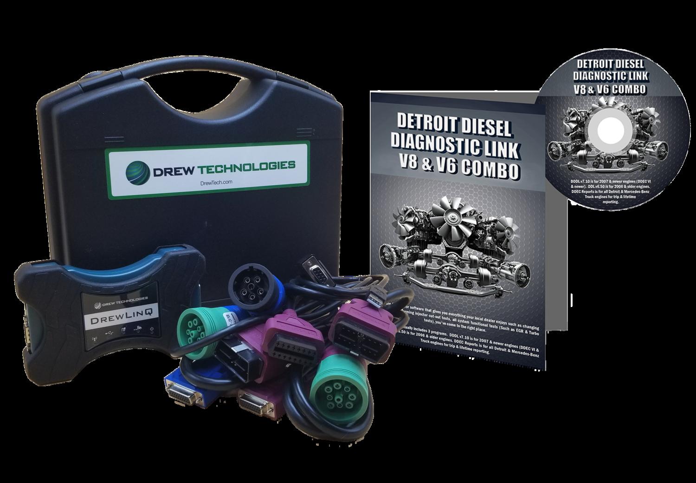 Detroit Diesel Diagnostic Link v8 & v6 Combo Professional License with Drewling Scanner