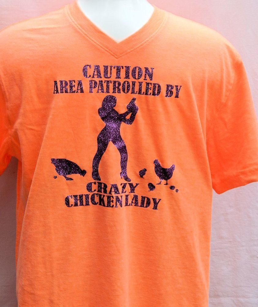 Caution Area Controlled By Crazy Chicken Lady-Orange with Purple Sparkles