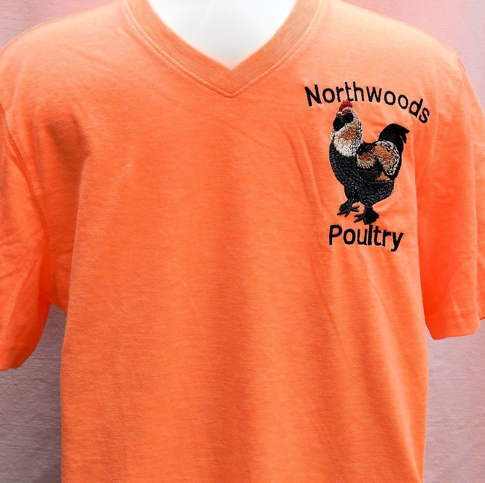 Embroidered Northwoods Poultry Shirt- Orange Short Sleeve