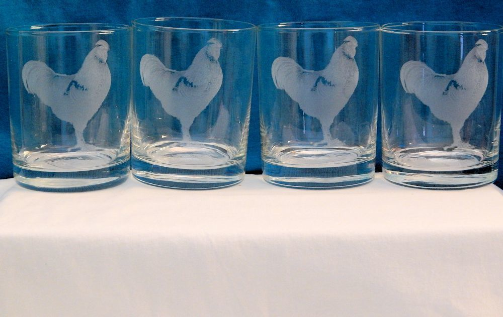 Etched Rooster Drink Glass- Set of 4
