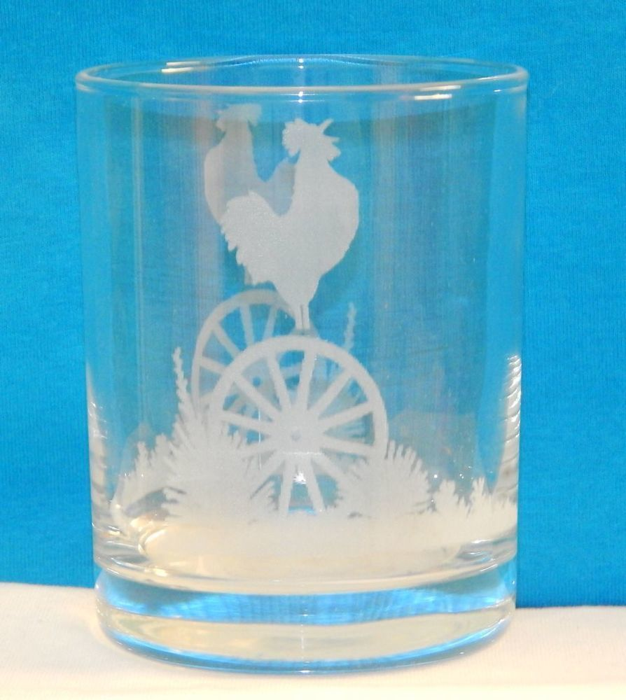 Etched Rooster Wagon Wheel Glass