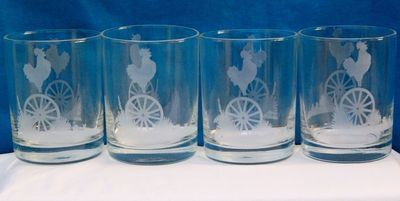Etched Rooster with Wagon Wheel Drink Glasses