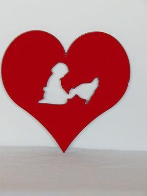 Trivet- Heart With Little Girl Feeding Her Hen