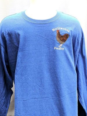 Embroidered Northwoods Poultry Long Sleeve Shirt - Blue