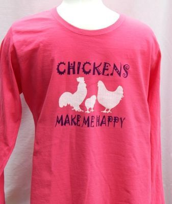 Silk Sceen Long Sleeve- Chickens Make Me Happy