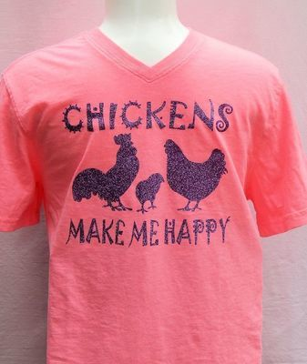 Chickens Make Me Happy-Pink with Purple Sparkles