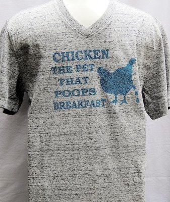 Chicken The Pet That Poops Breakfast-Light Grey with Blue Sparkles