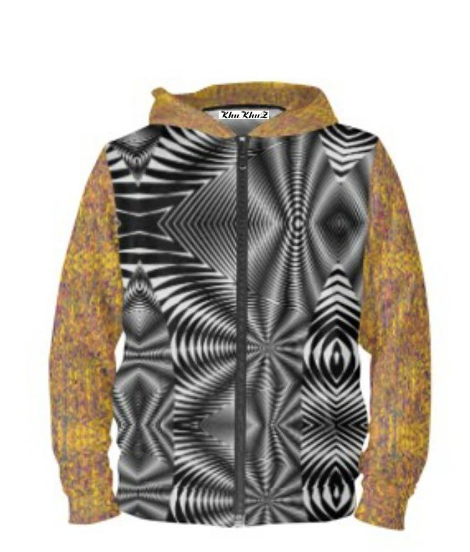 Yellow & Mauve Print & Black & White Print Hoodie Zipper
