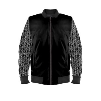 Bomber Jacket Waves Sleeves Print