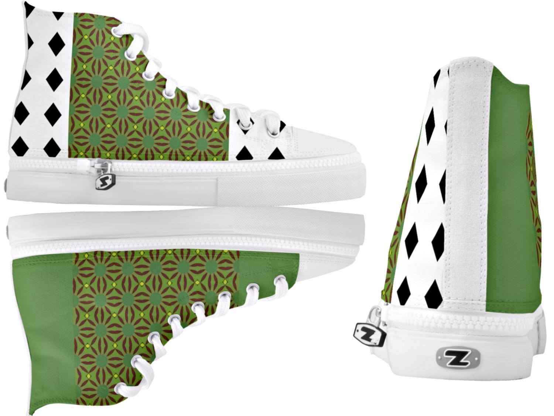 High Top Sneakers Black Diamonds & Green Print