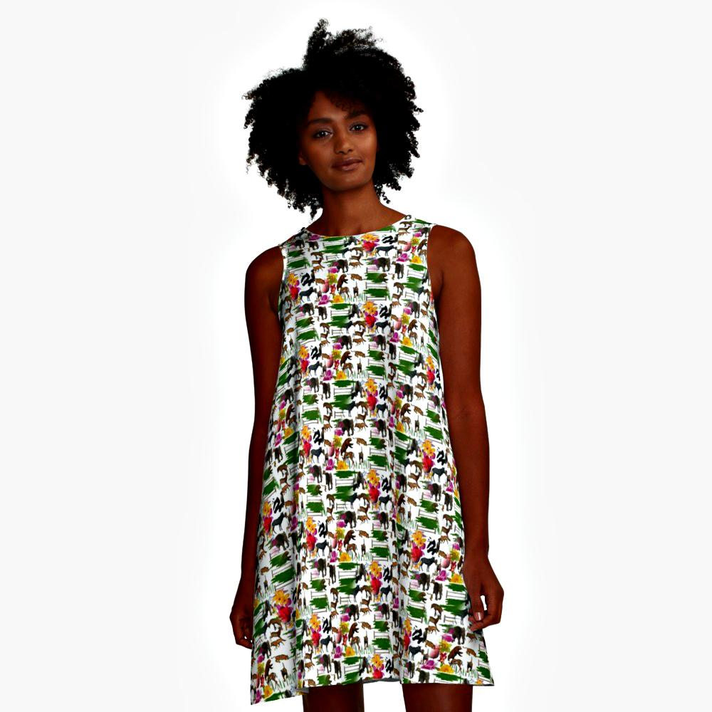 Dress A-Line Zoo Animals Print Design