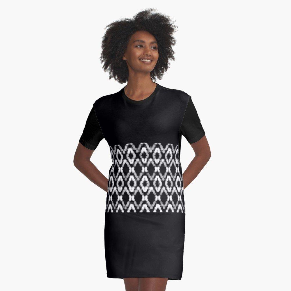 BLACK LACE PRINT T-SHIRT DRESS