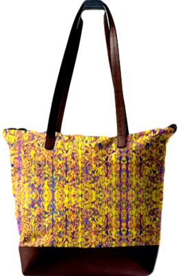 #ALL OVER YELLOW PRINT DESIGN STATEMENT BAG