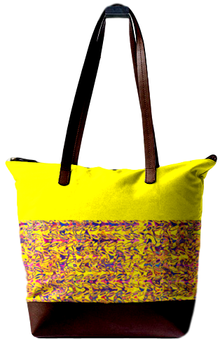 #MULTI PRINT LEATHER BAG_YELLOW PRINT DESIGN