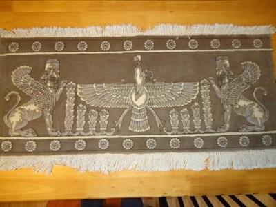 persepolis enterance + Farvahar Wall rug