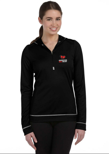 Ladies' Alo - Black Sport 1/2 Zip Long Sleeve Hoodie