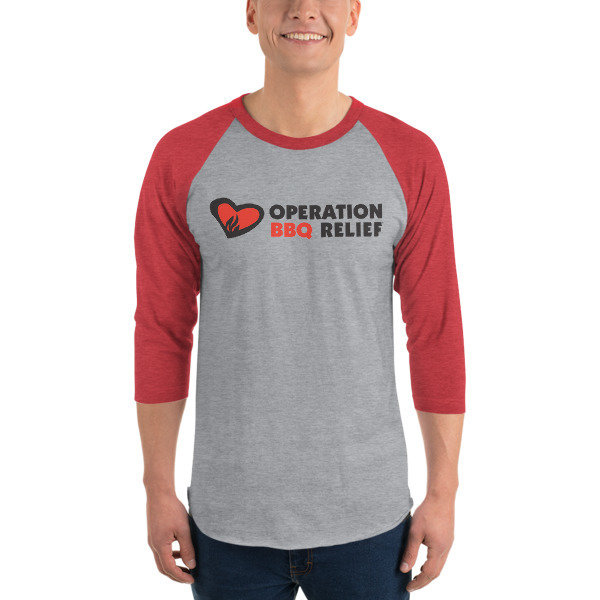 Operation BBQ Relief 3/4 sleeve raglan baseball shirt 60032