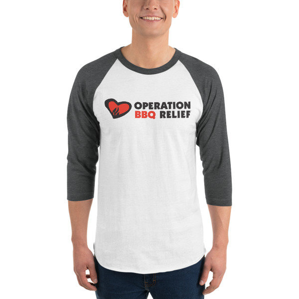 Operation BBQ Relief 3/4 sleeve raglan baseball shirt