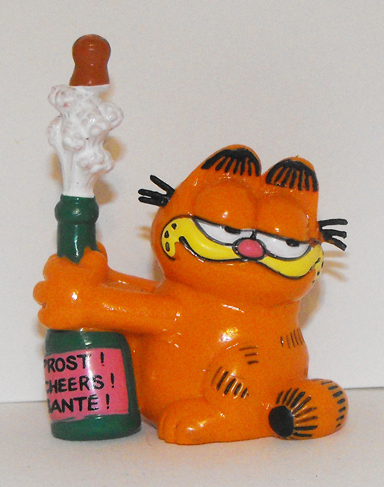 Garfield with Champagne Plastic Figurine