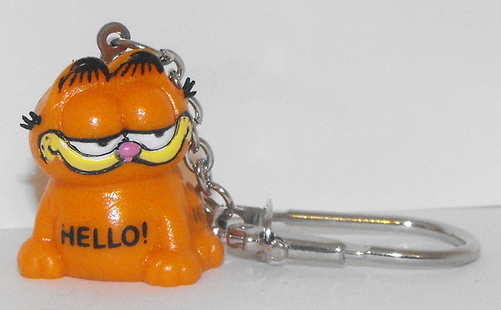 Garfield Sitting 1 inch Keychain HELLO