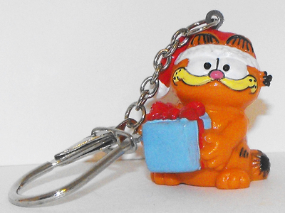 Christmas Garfield Holding Gift Key Chain