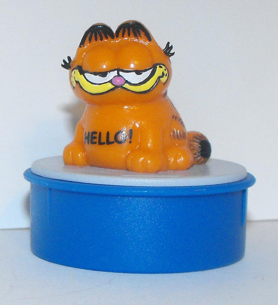 """Garfield Sitting """"Hello"""" Blue Ink Stamper"""