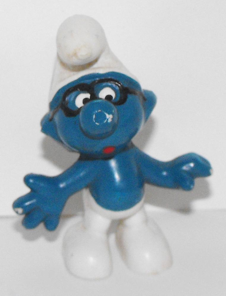 Brainy Black Glasses Smurf Vintage Figure 20006