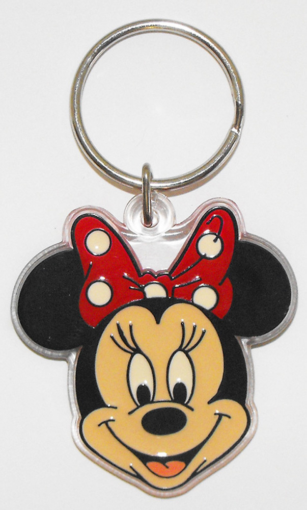 Minnie Mouse Head Plastic Disney Key Chain Keychain