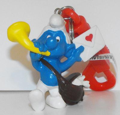 Postman Smurf Vintage Figurine Keychain 20031