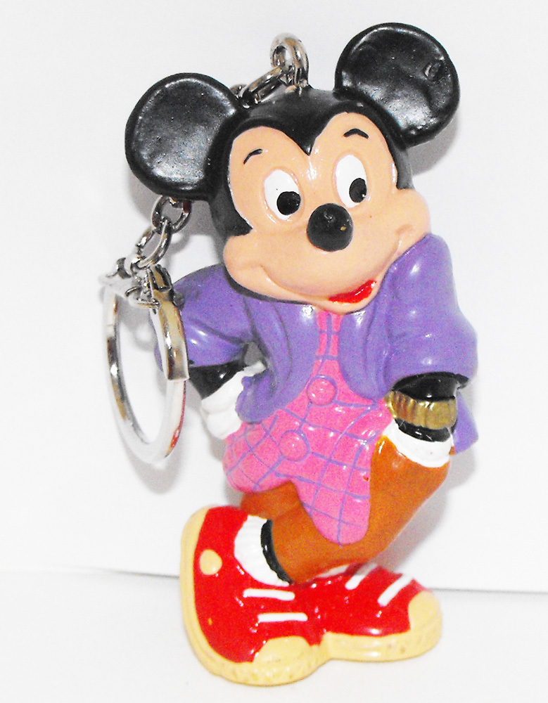 Mickey Mouse Disco Plastic Figurine Metal Keychain Key Chain