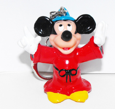 Mickey Mouse Wizard Fantasia Plastic Figure Keychain Key Chain