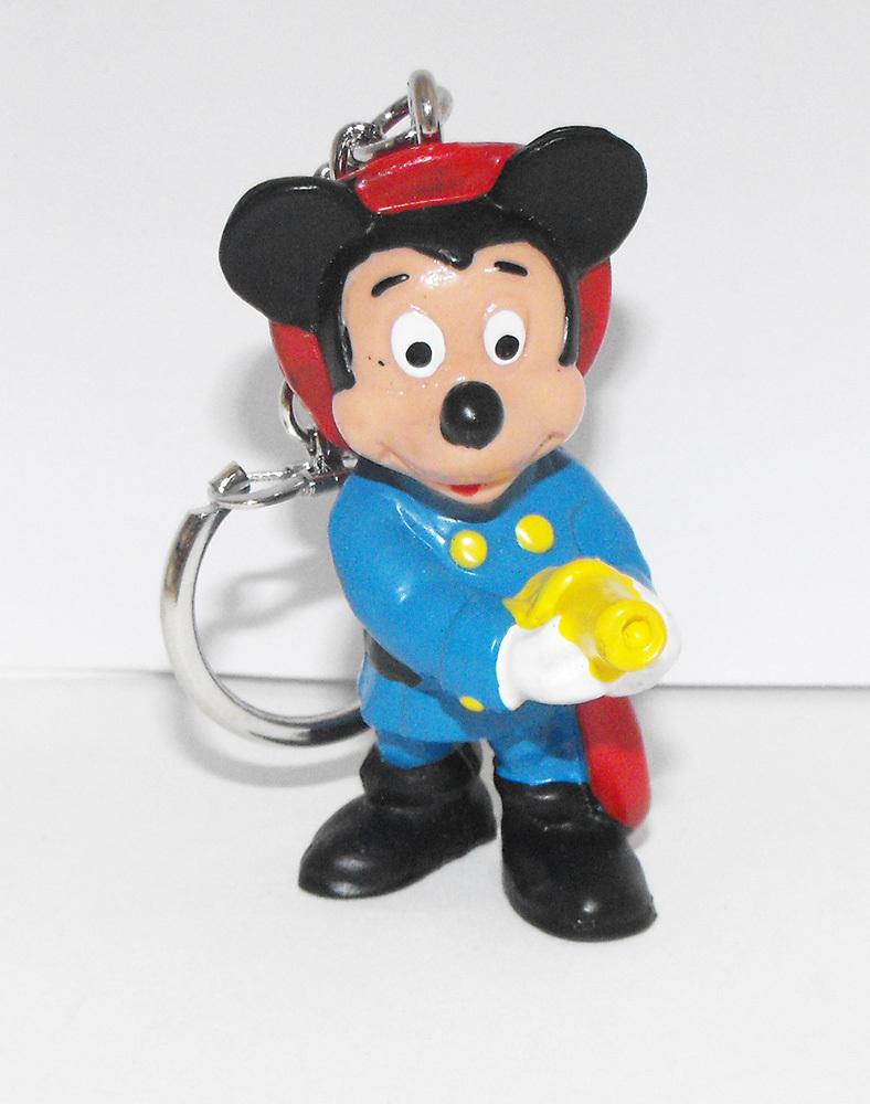 Mickey Mouse 2 inch Fireman Plastic Figurine Keychain Key Chain