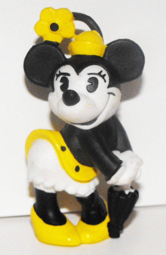 Minnie Mouse with Umbrella Yellow Classic 2 inch Plastic Figure