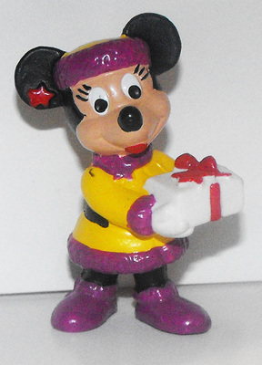 Minnie Mouse with Present Christmas 2 inch Plastic Figure