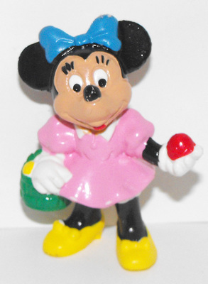 Minnie Mouse Holding Easter Basket 2 inch Plastic Figure
