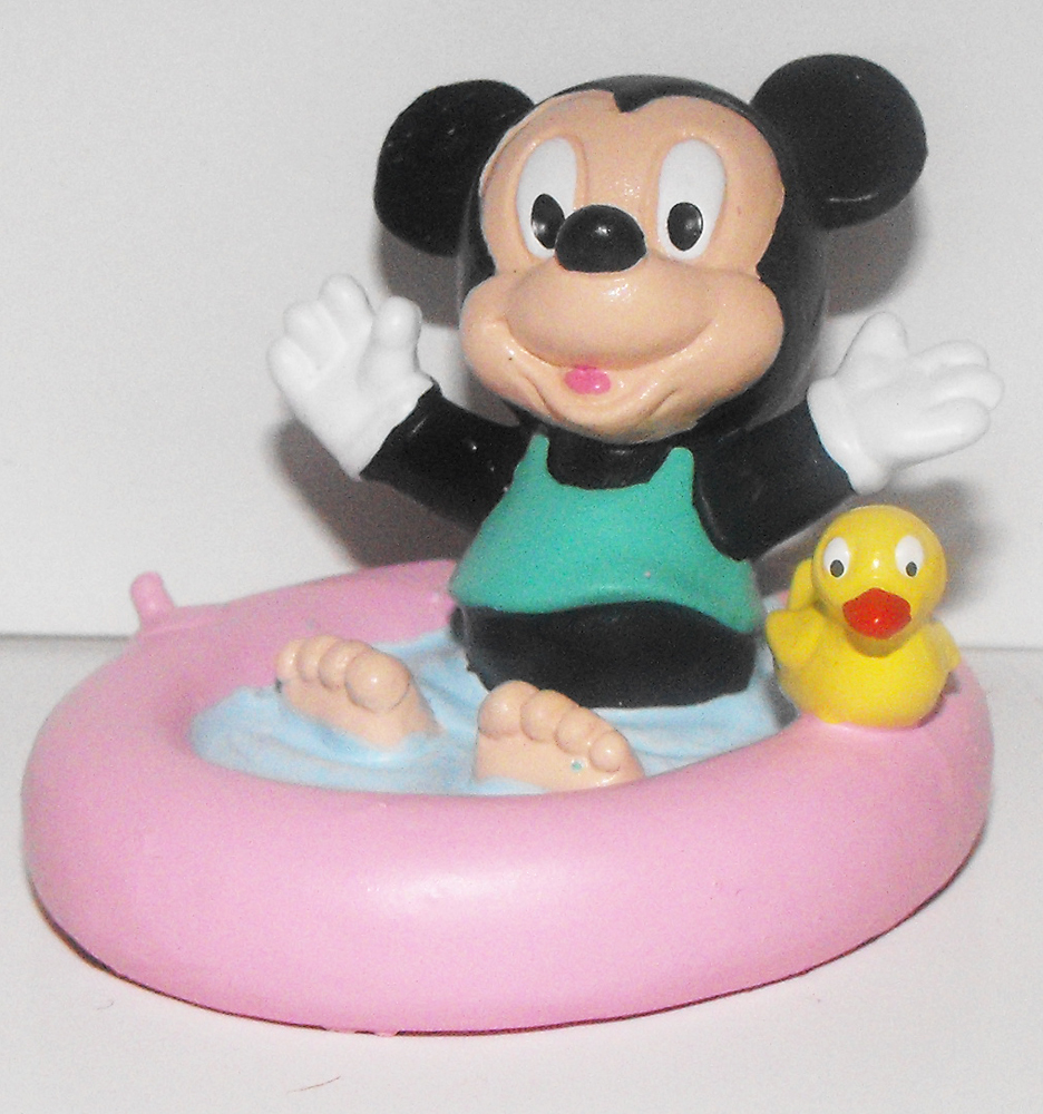 Baby Mickey Mouse in Baby Pool 2 inch Plastic Figurine
