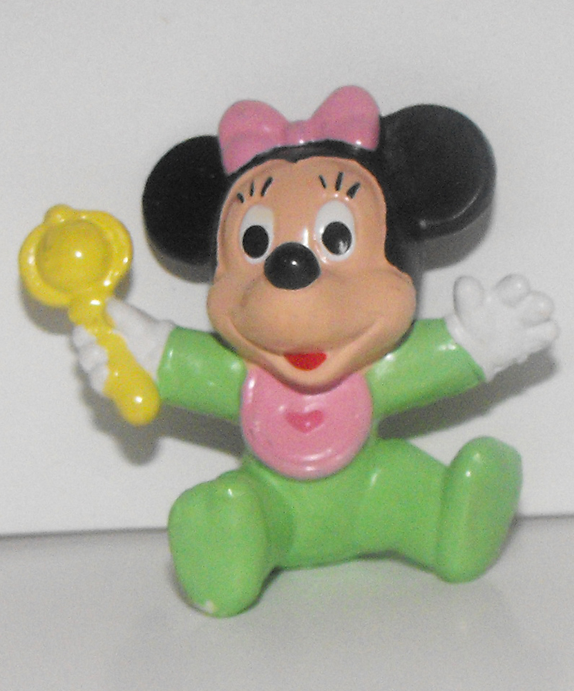 Baby Minnie Mouse with Rattle 2 inch Plastic Figurine