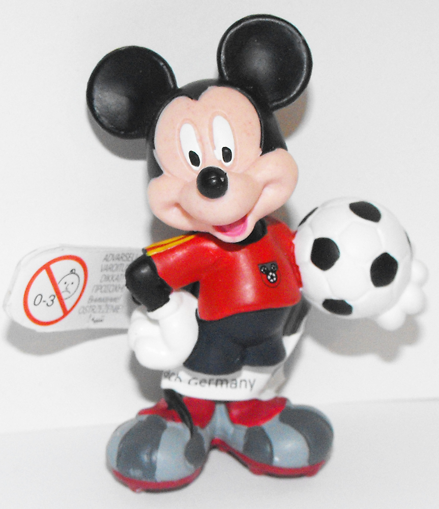 Mickey Mouse (red) Playing Soccer 2 inch Plastic Figurine