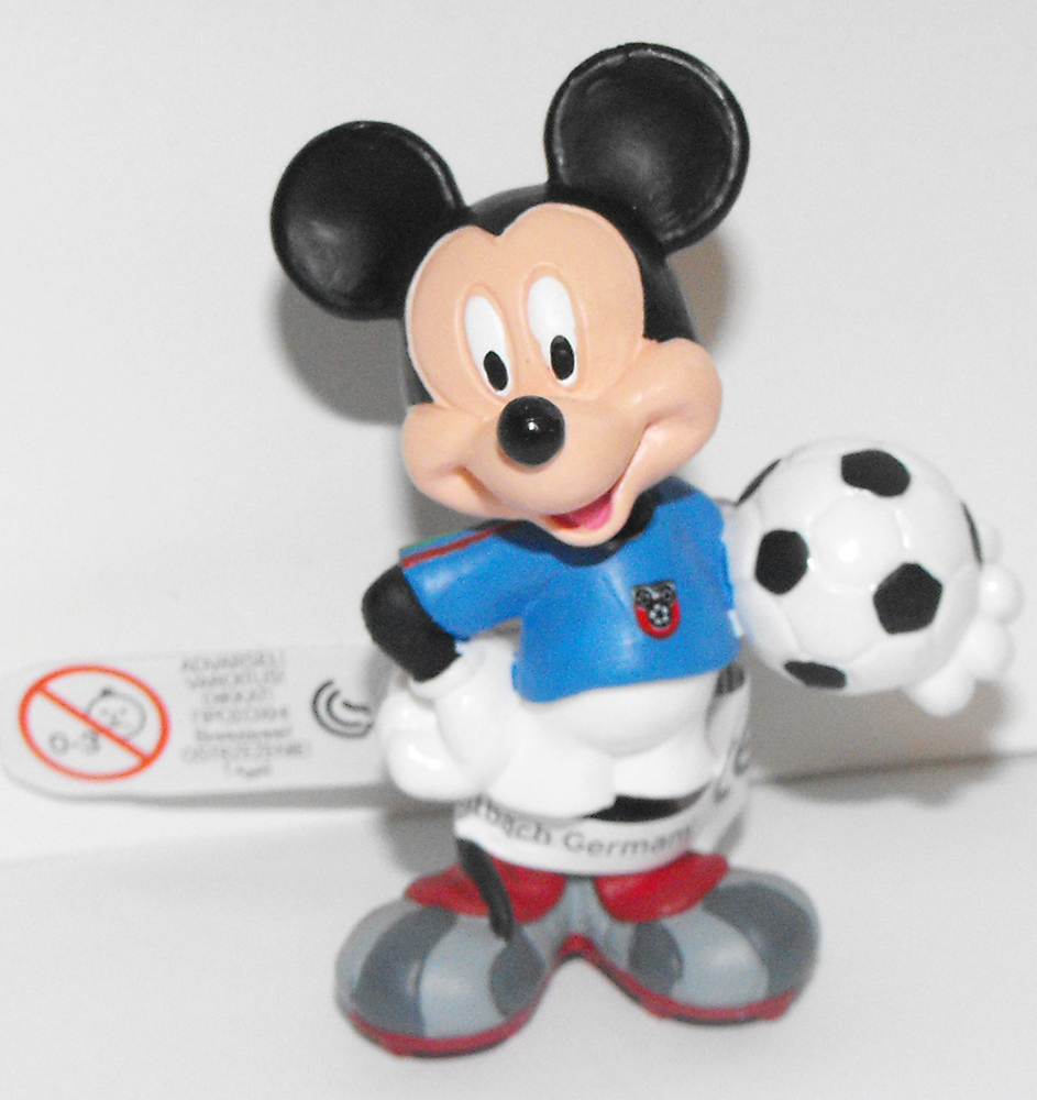 Mickey Mouse (blue) Playing Soccer 2 inch Plastic Figure
