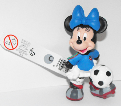 Minnie Mouse (blue) Playing Soccer 2 inch Plastic Figure