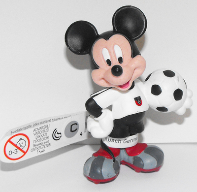 Mickey Mouse (white) Playing Soccer 2 inch Plastic Figure
