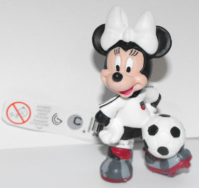 Minnie Mouse (white) Playing Soccer 2 inch Plastic Figure