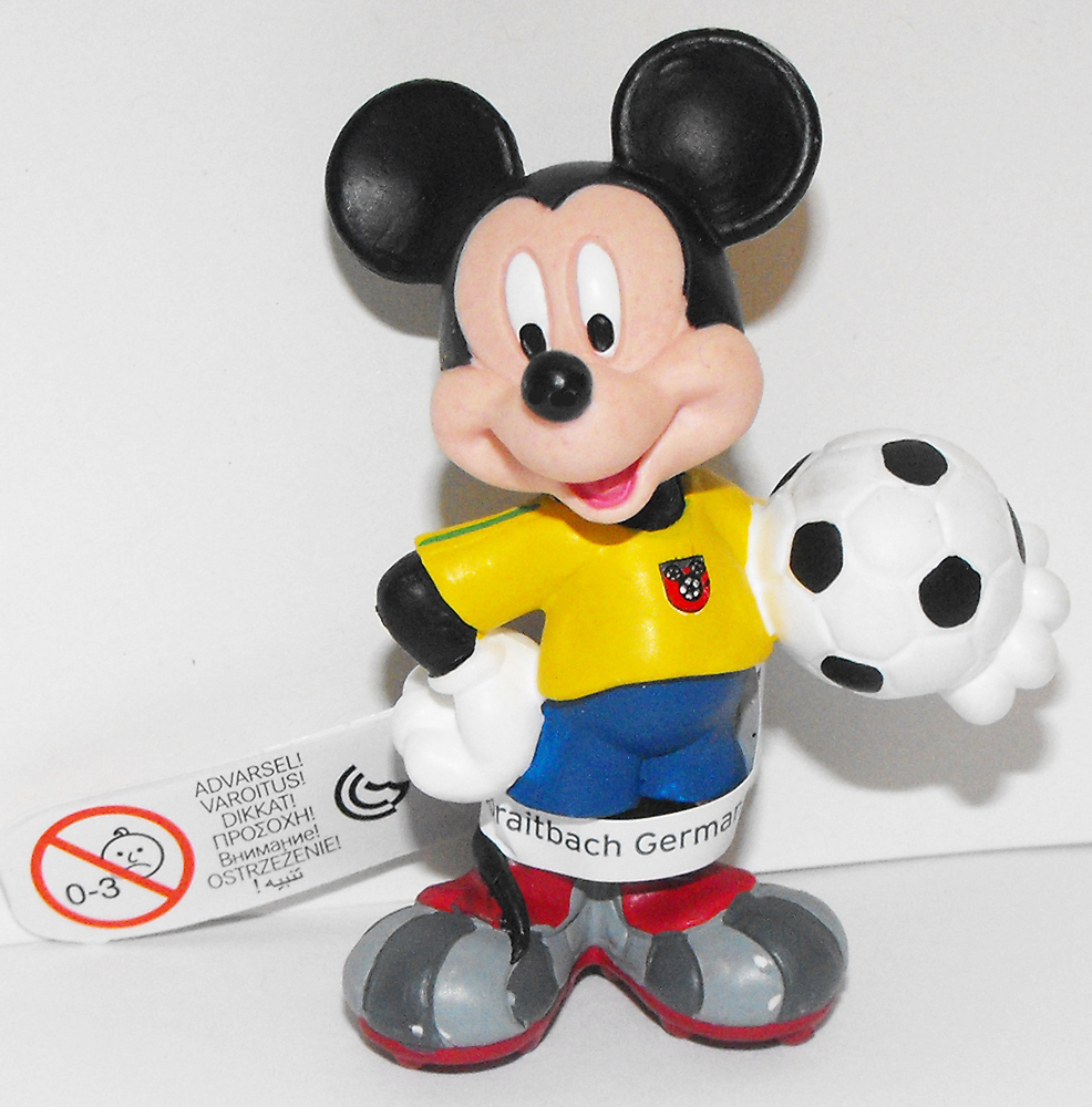 Mickey Mouse (yellow) Playng Soccer 2 inch Plastic Figure